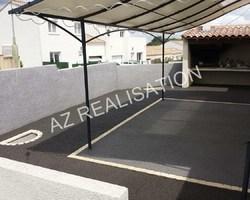 Terrasse avec décoration pavés ton gris